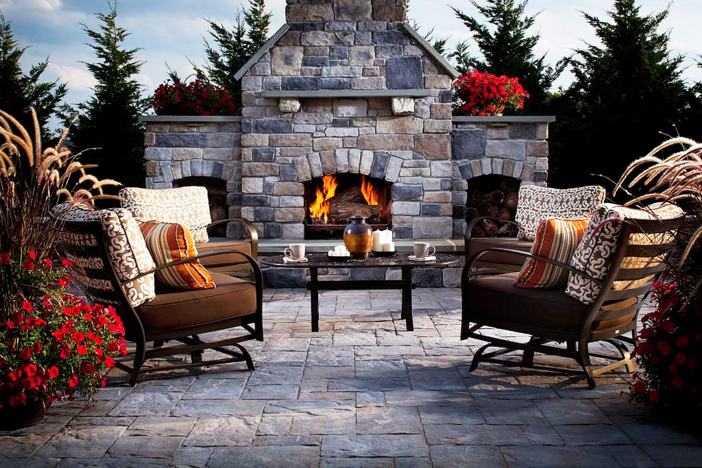 Earth Tone Pavers Patio And Outdoor Fireplace