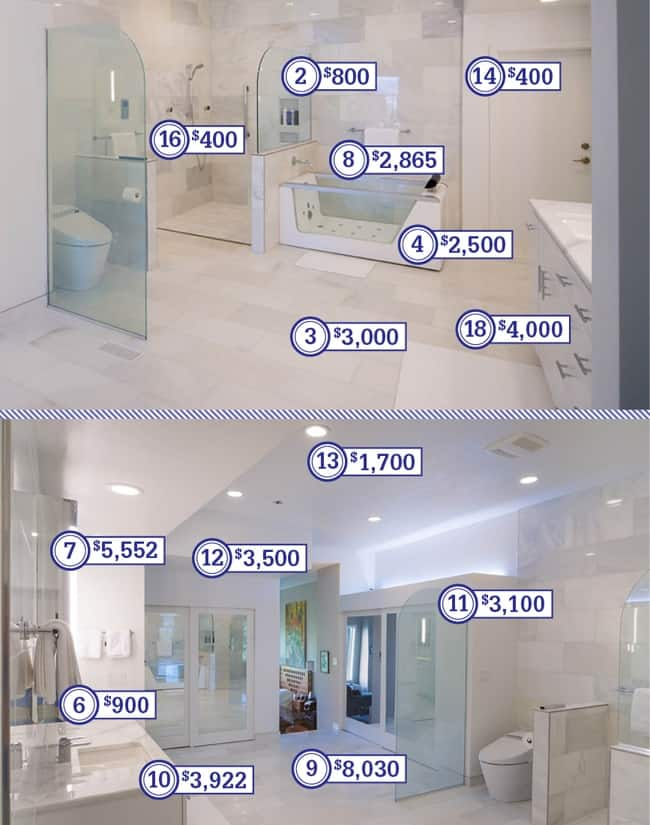cost details of a high end bathroom remodel