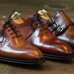 3 leather dress shoes at an angle