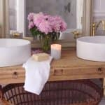 Courtney of The French Country Cottage turned a regular console into a beautiful vanity. (Photo courtesy of Courtney A/The French Country Cottage)