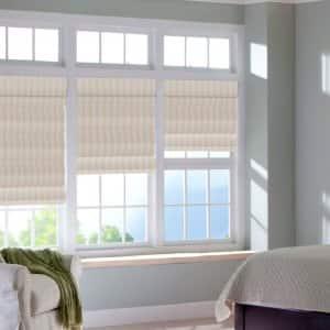 windows with striped Roman shades