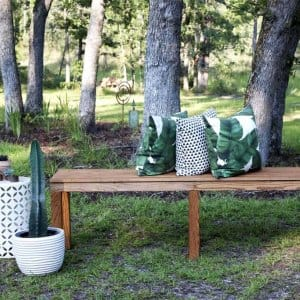 Build your own DIY garden bench for a unique garden accent. (Photo courtesy of Jamie Lott/Southern Revival)