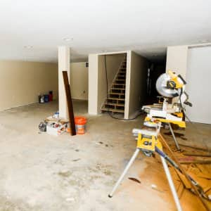 basement remodeling project after starting home improvements