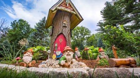 Garden gnomes in a backyard garden