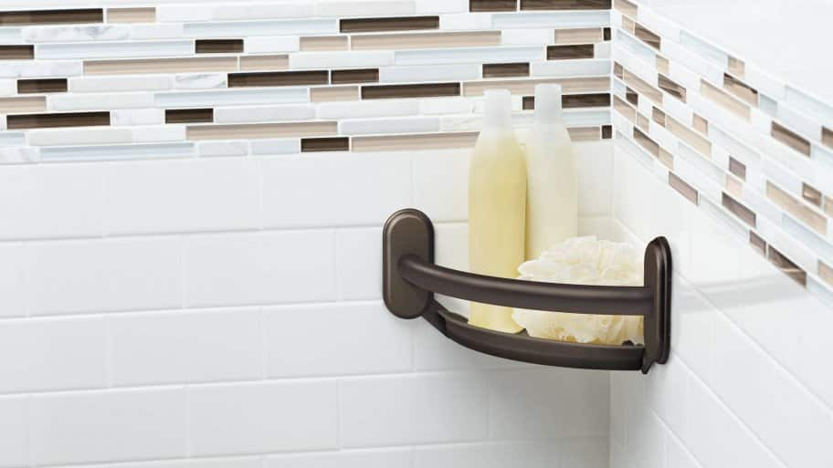 soap dish in shower with tile backsplash