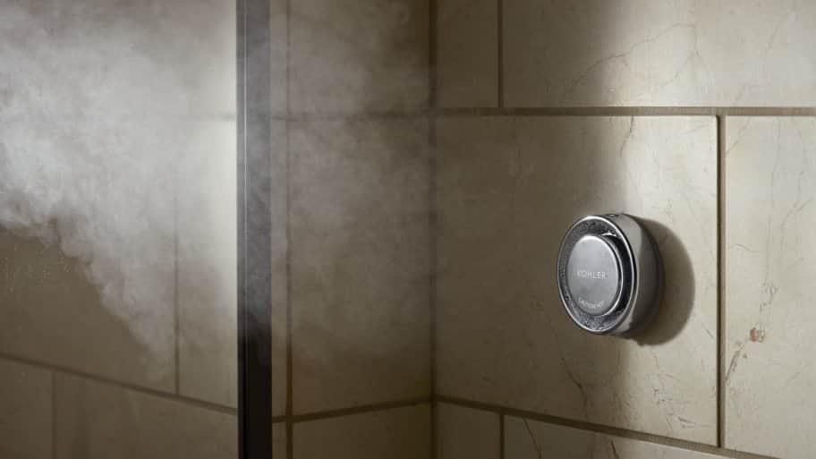 steam issuing from shower head