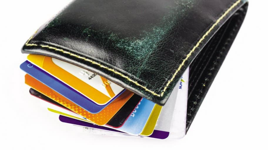 wallet filled with consumer credit cards
