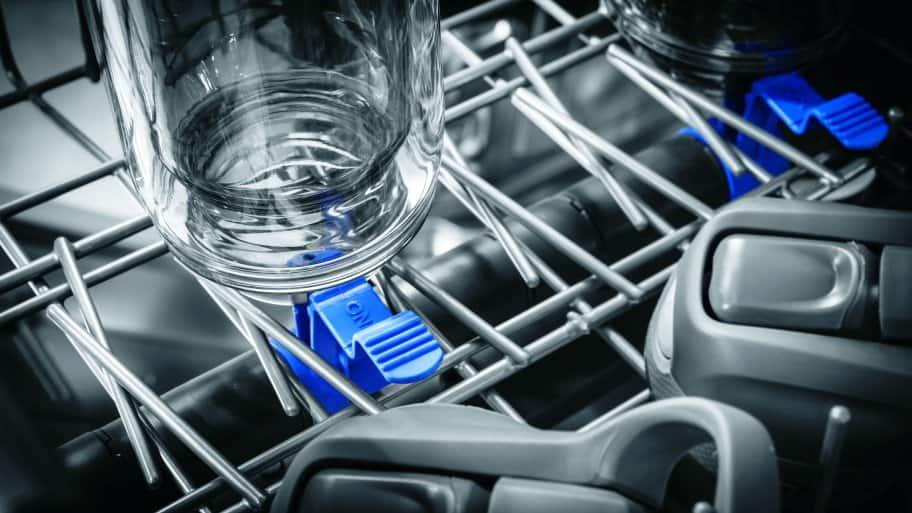 Close shot of PrecisionPro wash zones in Frigidaire Professional FPID2497RF dishwasher.