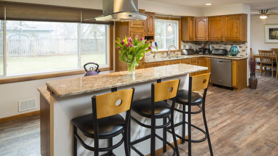 Whether you want additional prep space or more seating, kitchen islands can work for your needs. (Photo courtesy of Mike Otto/Fair and Square Remodeling)