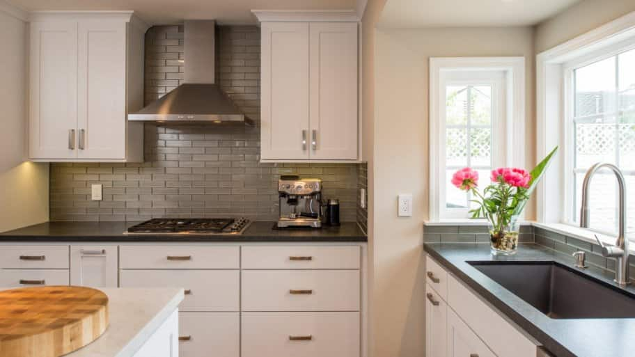 white cabinets, remodeled kitchen