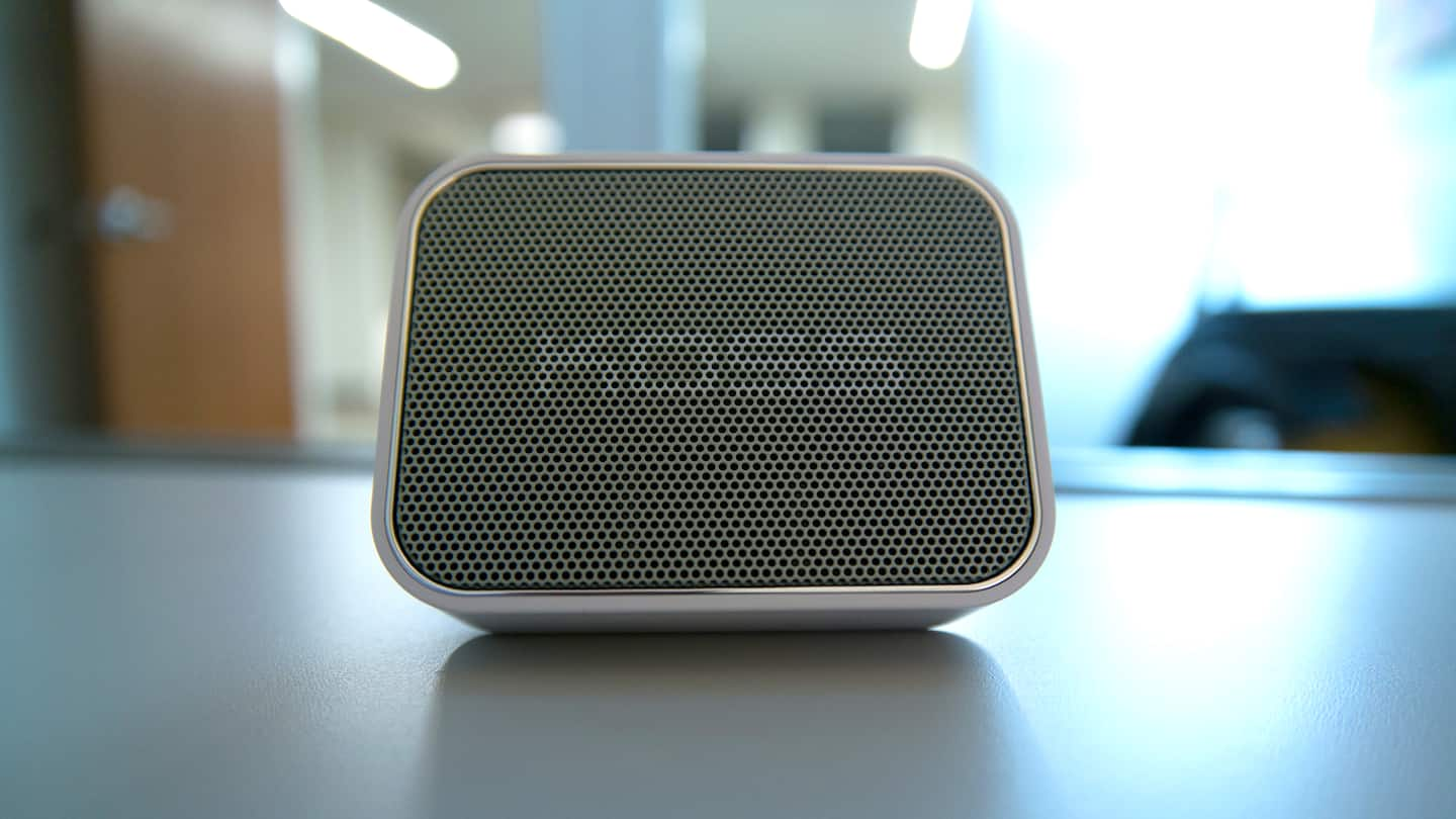 Koss BTS1 Bluetooth wireless speaker on a table.