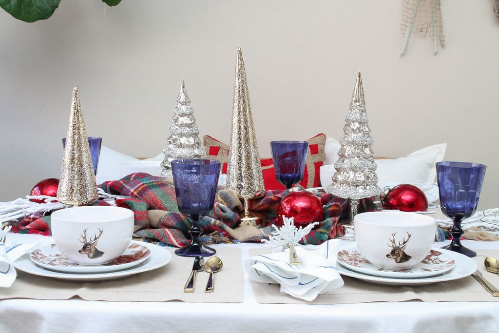 Create a beautiful tablescape for the holidays with winter-themed décor. (Photo by Rebekah Dempsey/A Blissful Nest)