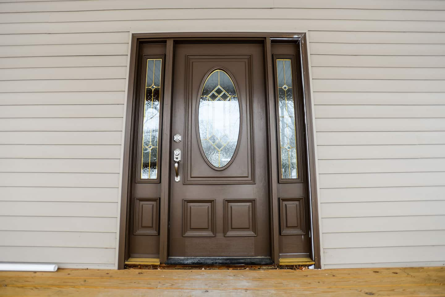 Brown Front Door With Side Windows