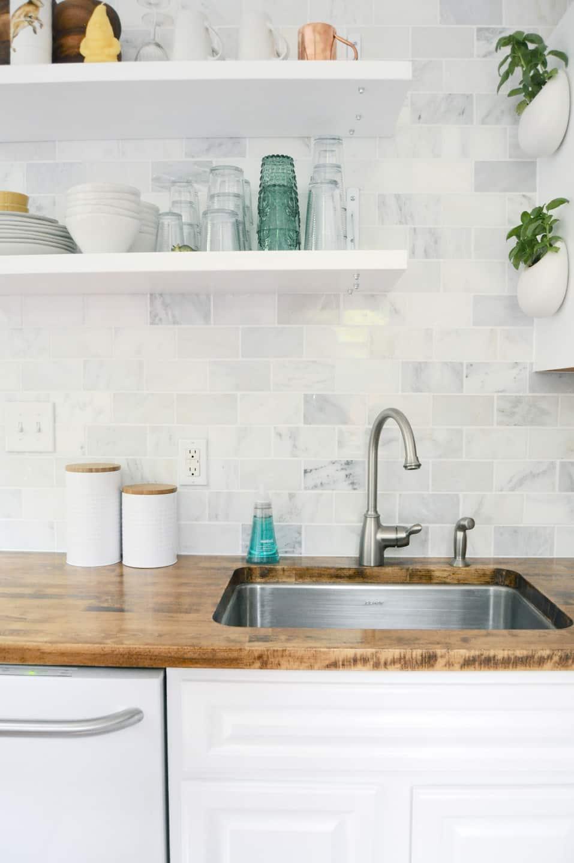 Kitchen with White Cabinets, Grecian White Marble Tile Backsplash ...