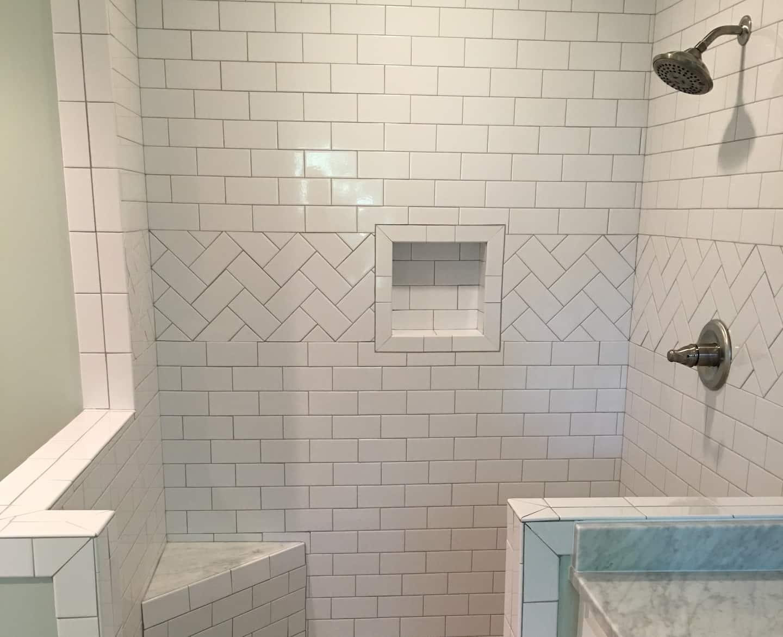 white subway tile open shower