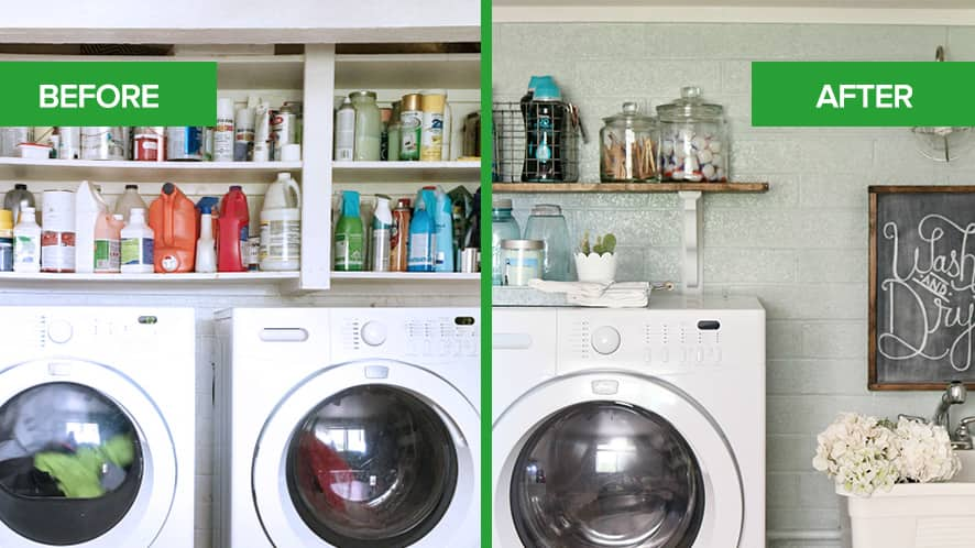 Kelli Mullins Laundry Room Refresh Before & After