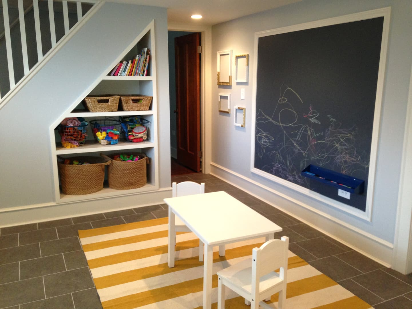 Kids Play Space And Under Stair Storage Basement Jpg Angie S List