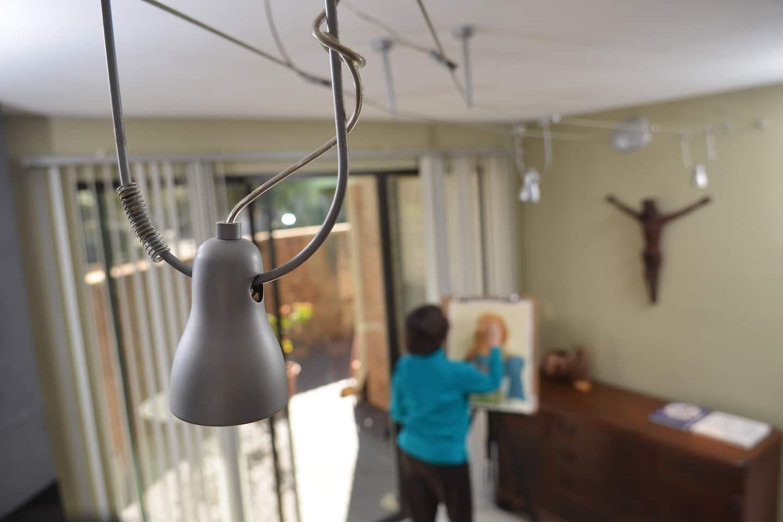 LED light hangs in gallery