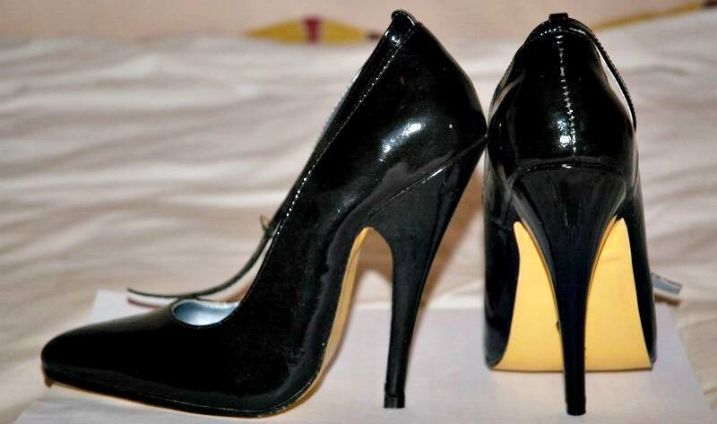 black shoes with stiletto heel