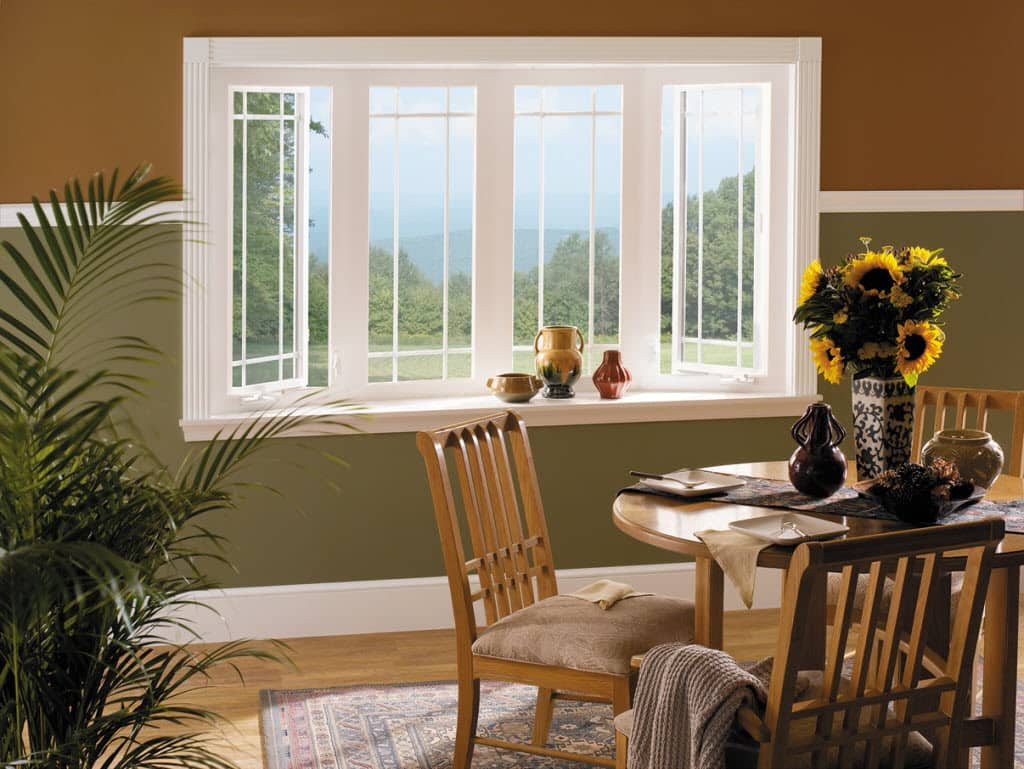 Interior Vinyl Window Trim - Vinyl window bay window sunflowers dining room