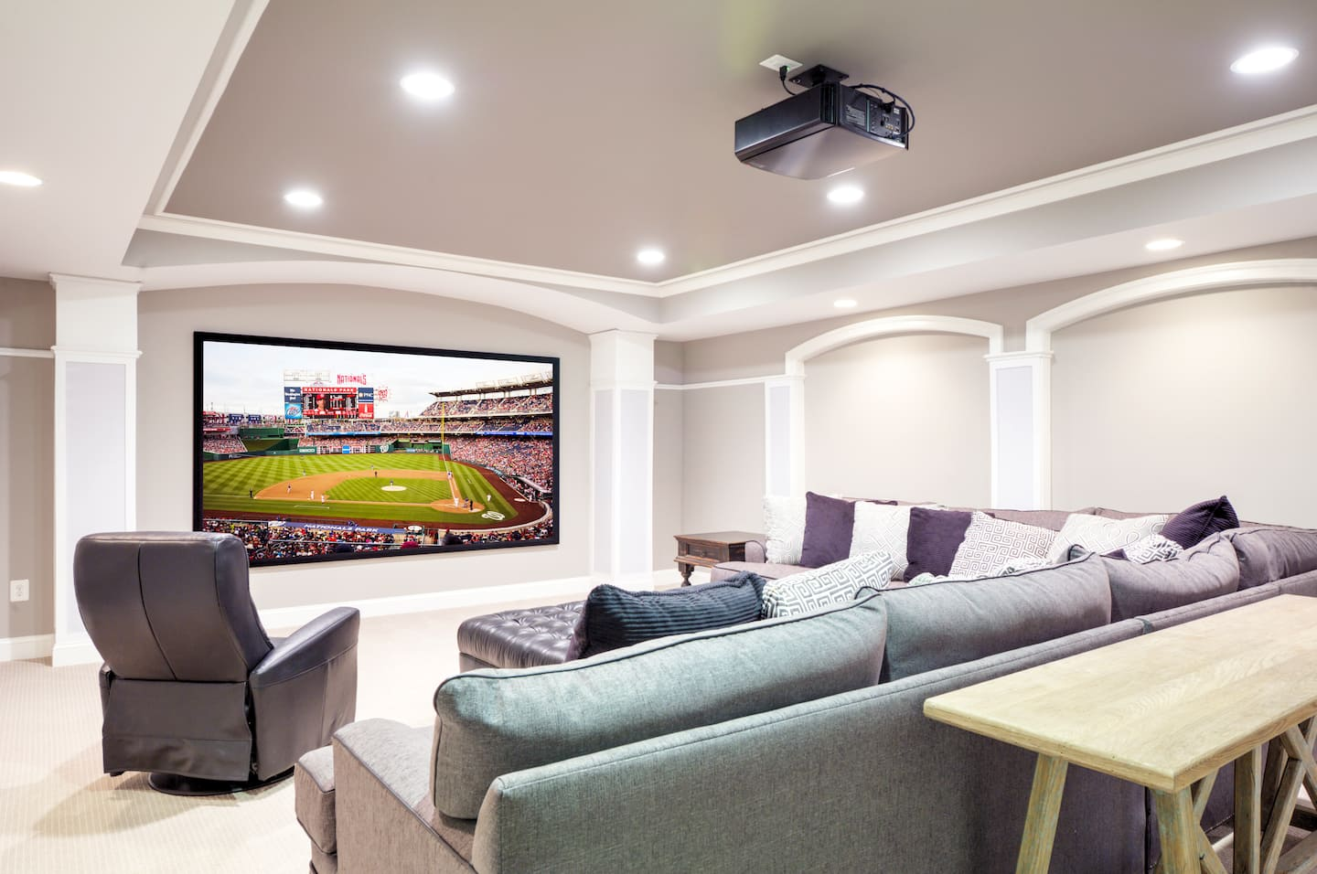 Finished basements are a large part of our business often featuring - Turn Your Basement Into A Home Theater Or Get Inspired With Other Outstanding Basement Ideas