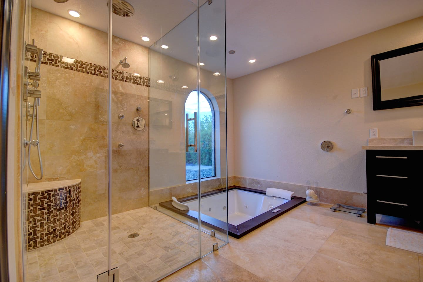 Remodeled Bathroom With Walk In Shower And Whirlpool Tub