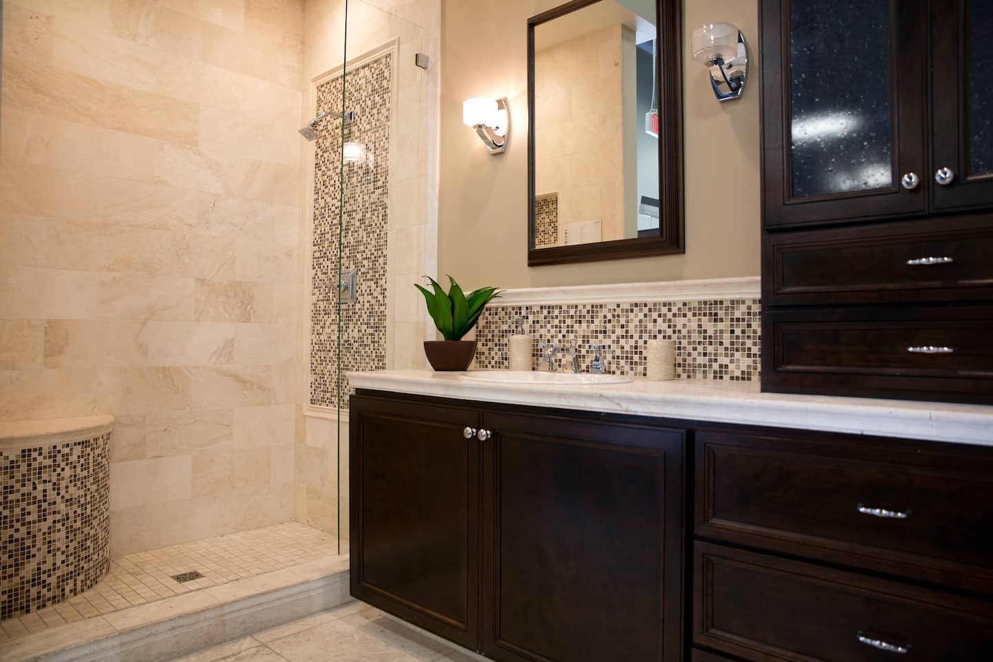 Remodeled Bathroom With Walk In Shower High Grade Cabinets