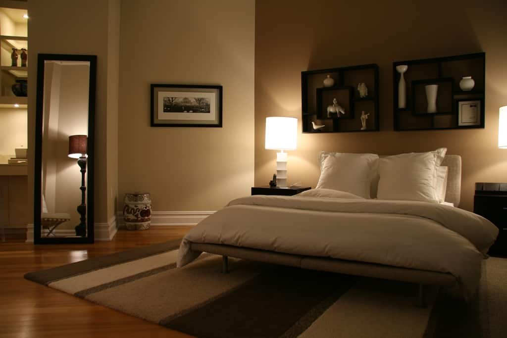 Bedroom with task lighting