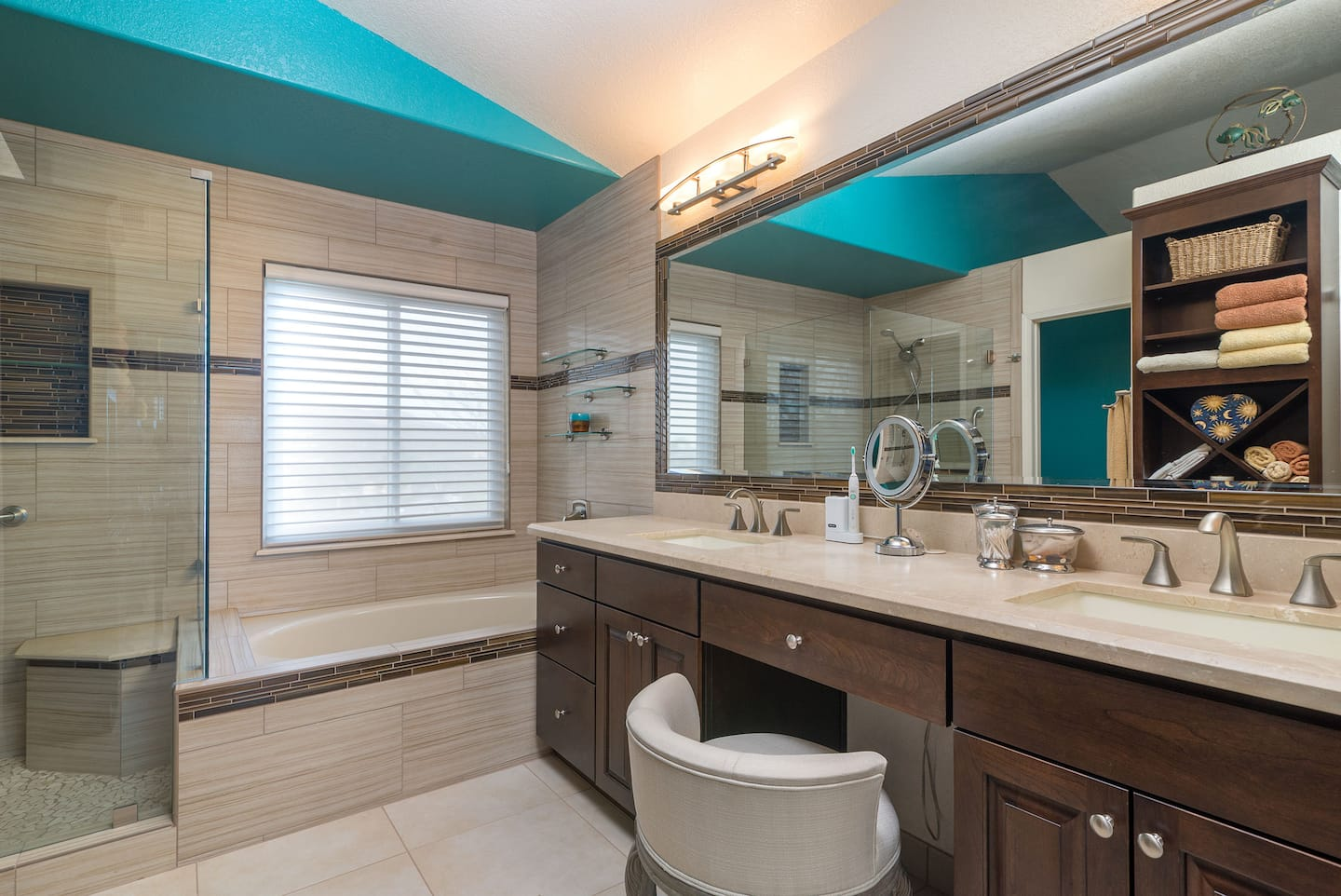 6 ceiling designs to dress up any room angies list bathroom with a teal ceiling dailygadgetfo Images
