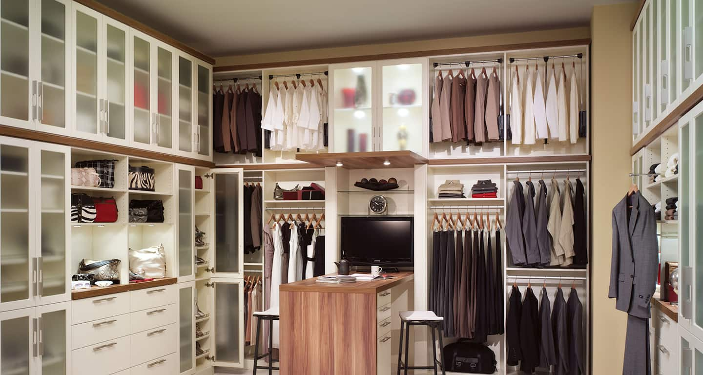 Custom closet system with shelving and a desk : closet lighting - azcodes.com