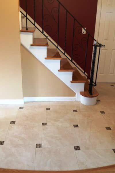 This member had his the old tile floor in the foyer replaced with new  porcelain tile. Laying Tile Over Uncoupling Membrane Underlayment   Angie s List