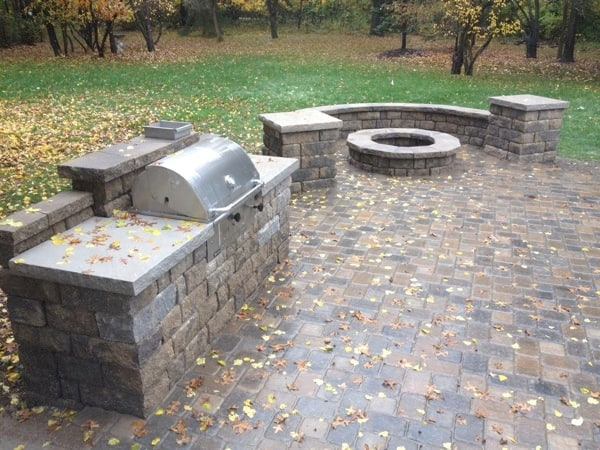 with pin paver pit patio fire ideas and grill surround