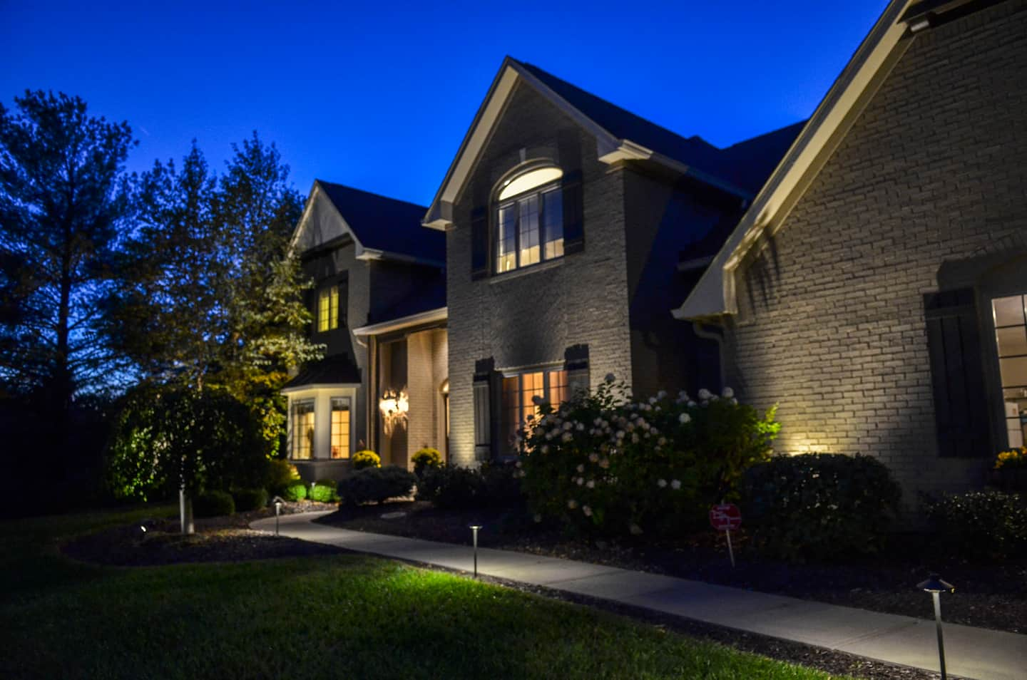 Awesome Outdoor Lighting In Front Of Indiana Home And Pathway