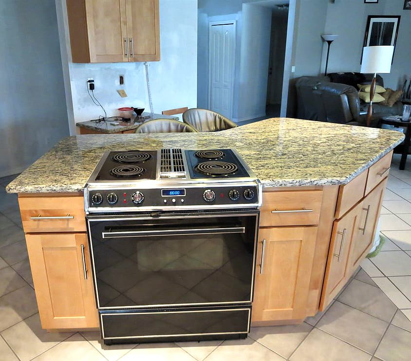 kitchen island cabinet stove range