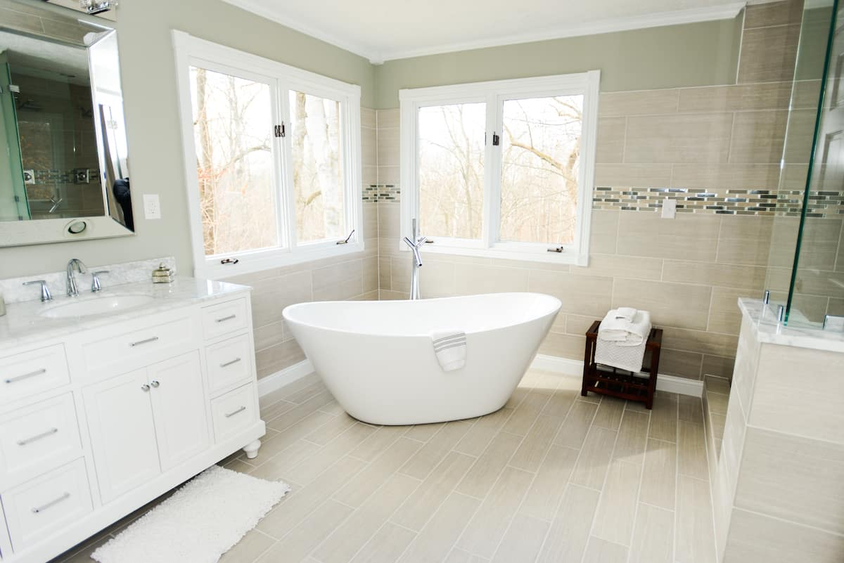 How much does it cost to buy and install ceramic tile angies list bathroom with soaker tub dailygadgetfo Gallery