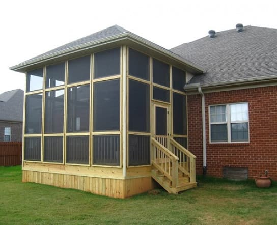 A bran new screened-in porch addition
