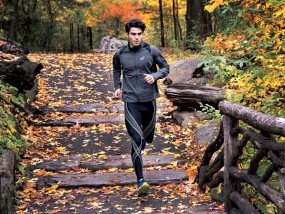 Runner on bridge in compression pants