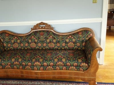 reupholstered antique sofa