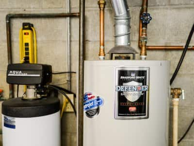 water softener in basement