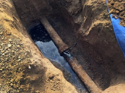 cast-iron sewer pipe