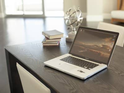 open laptop computer on desk
