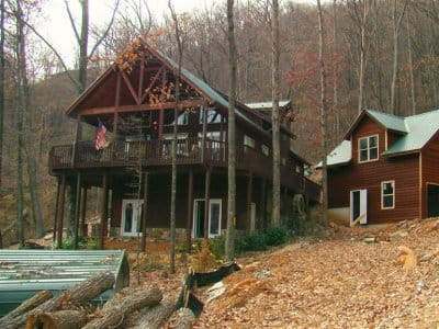 log home in mountains