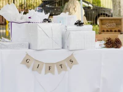 Wedding gift table with pine cone card box