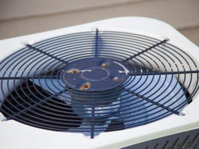 close-up shot of top of air conditioner unit