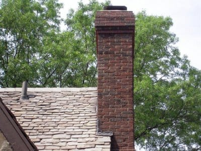 Brick chimney and roof