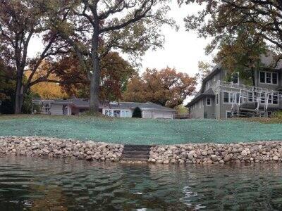 shoreline landscaping of lakefront property