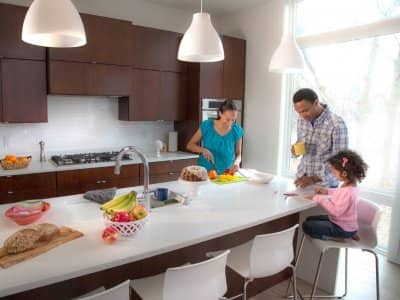 large kitchen island, family breakfast, modern kitchen