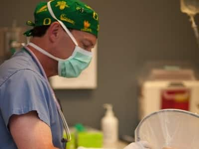 Anesthesiologist Dr. Mark Norling with a patient