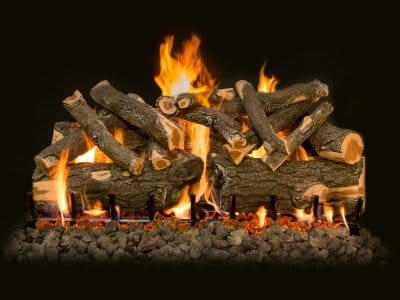 ceramic gas logs burning with flames and embers