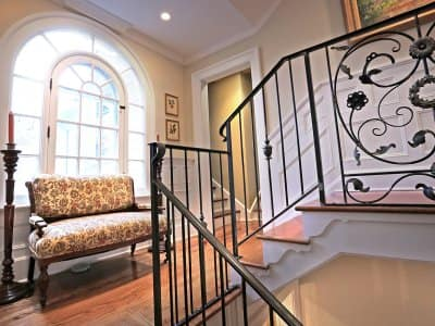 ornate wrought iron railing in historic home